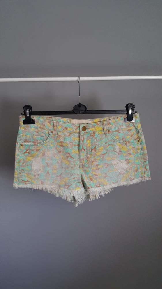 spodenki jeansowe miętowe we wzory szorty...
