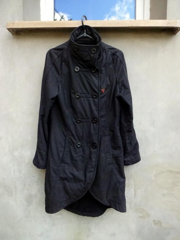 Czarny asymetryczny damski płaszcz Fly53 S M...