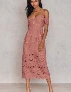 Piękna sukienka koronka pudrowy róż Wesele...