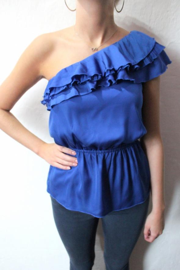 Niebieska bluzka na jedno ramię falbany r XS...
