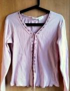 Różowa narzutka sweterek lolita vintage tasiemna wiązana...