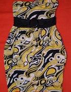 sukienka amisu żółta z kokardą...