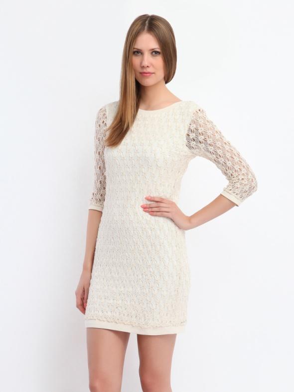 Suknie i sukienki kremowa koronkowa sukienka
