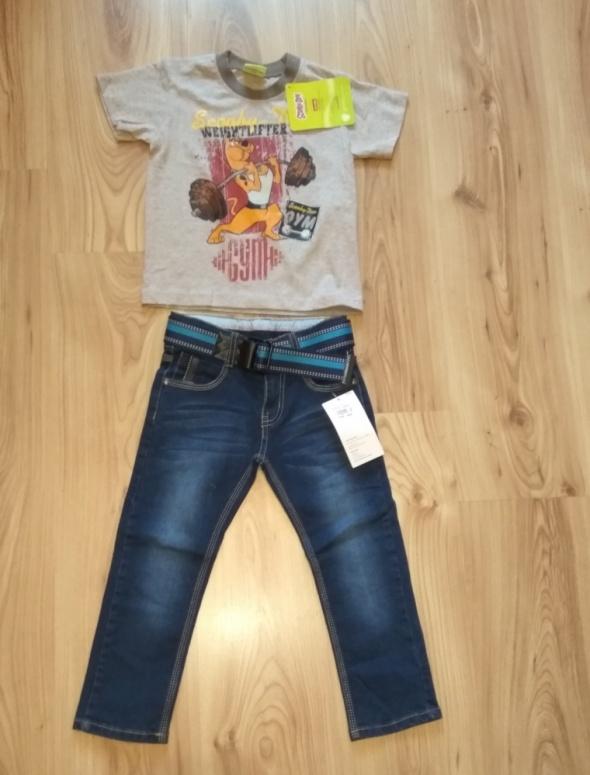 Nowy komplet spodnie jeansy i bluzka scooby doo 98