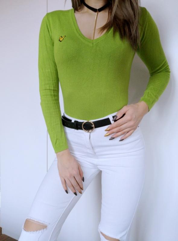 dopasowany sweter limonkowy zielony lyle & scott dekolt V