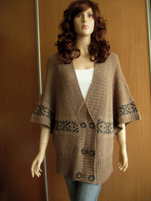 Kappahl sweter ponczo brąz wzory etno 4446...