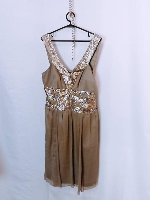 Apart Kawowa popielata sukienka złote srebrne cekiny idealna na...