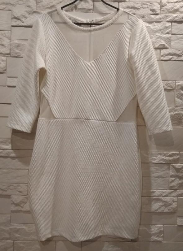 Biała sukienka na święta L M