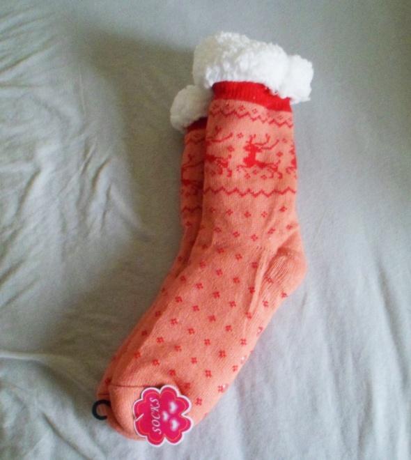 Nowe z metką ciepłe skarpety świąteczne puchate grube skarpetki