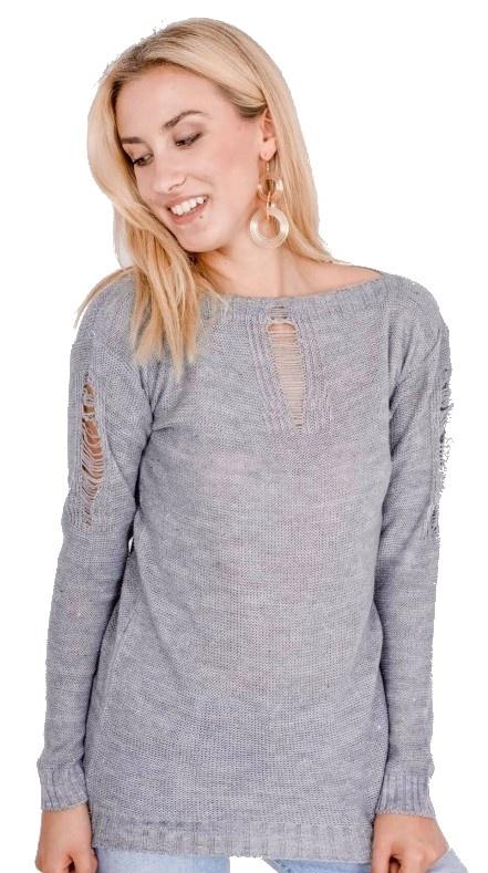 Modny lekki sweter z rozdarciami kolory...