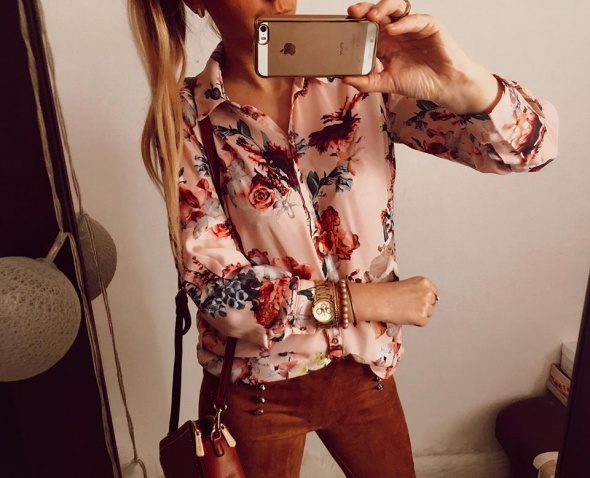 Różowa koszula Damska w kwiaty M