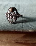 Resovia róża agat stary srebrny pierscionek