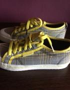 Trampki Adidas krata żółte sznurówki nowe