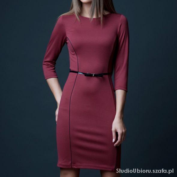 Prosta sukienka z paskiem rozmiar 42