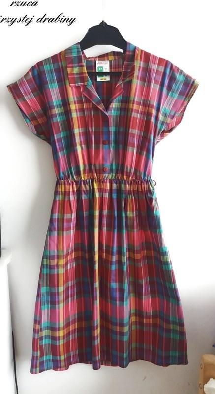 Sukienka midi w krate z kolnierzykiem one size...