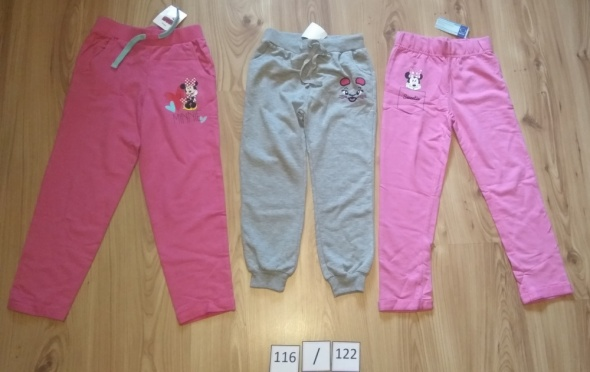 Spodnie i spodenki Nowe spodnie dresowe komplet różowe szare Myszka Minni Disney 116 122