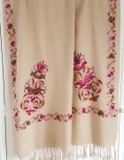 Nowy szal beżowy haft wzór kwiatowy floral kwiaty frędzle indyj...