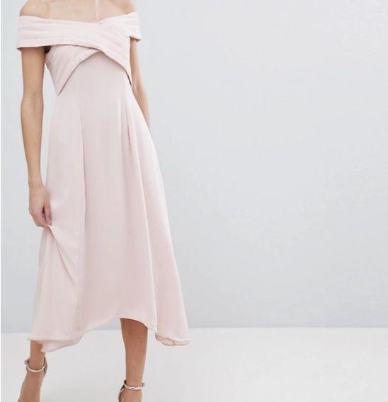 Nowa z metką różowa sukienka midi rozkloszowana hiszpanka asymetryczna