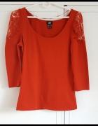 Czerwona bluzka H&M 36 S top koronka róże...
