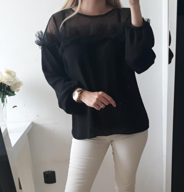 Primark bluzka koszulowa ozdobna siatka tiul L XL