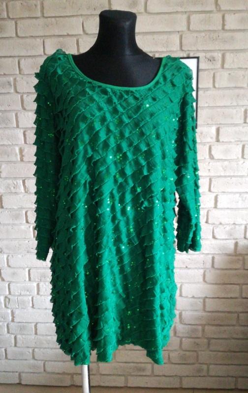 Tunika lub krótka sukienka z falbankami i cekinami 48 50 52