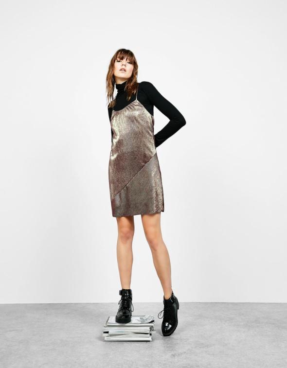 Nowa metaliczna sukienka Bershka bliźniana XS