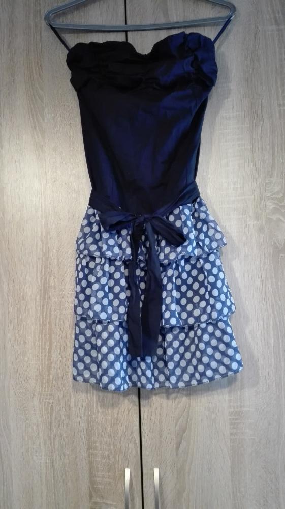 Sukienka Cache Cache bez ramiączek z falbankami rozmiar S...