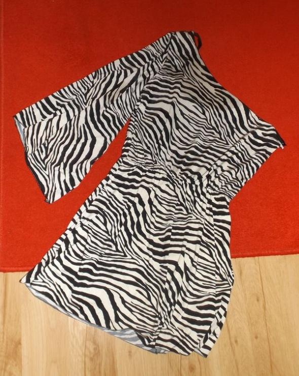 Asymetryczna czarno biała tuniczka zebra M...