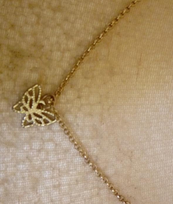 złoty łańcuszek z zawieszką motylek
