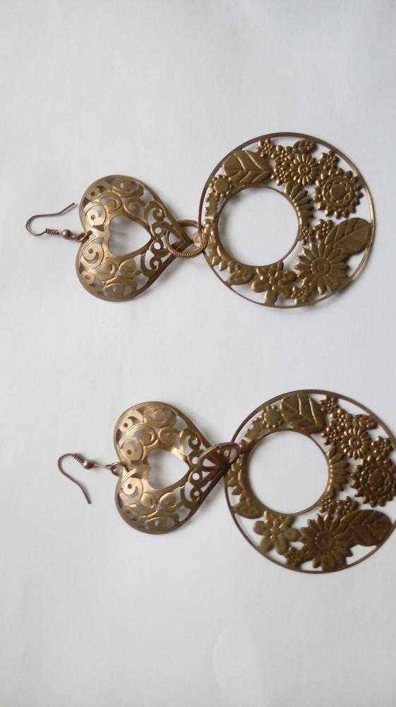 kolczyki stare złoto