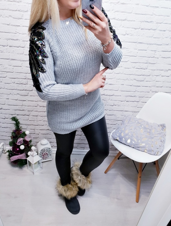 Sweter Tilly szary long