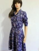 Fioletowa rozkloszowana sukienka retro wiązana pod szyja r SM...