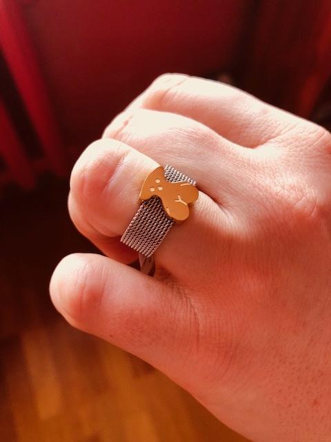 pierścionek z misiem pozłacany