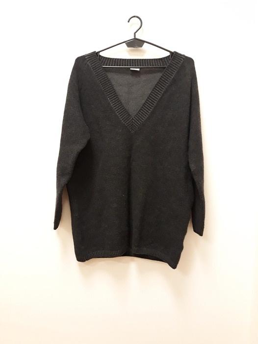 Esprit 100 procent wełna sweter grafit ciepły Vneck 38 M...