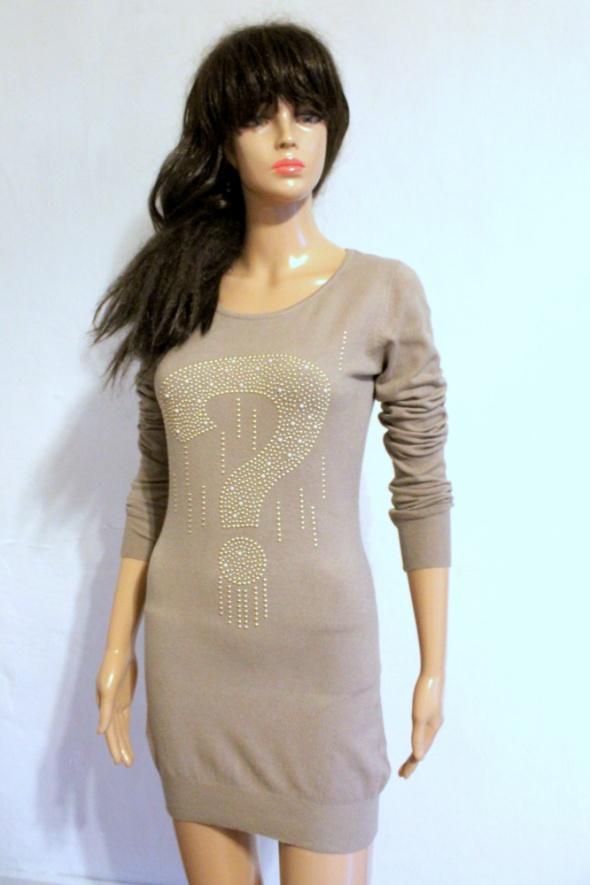 Bezowy sweter sukienka dzianinowa r SM...