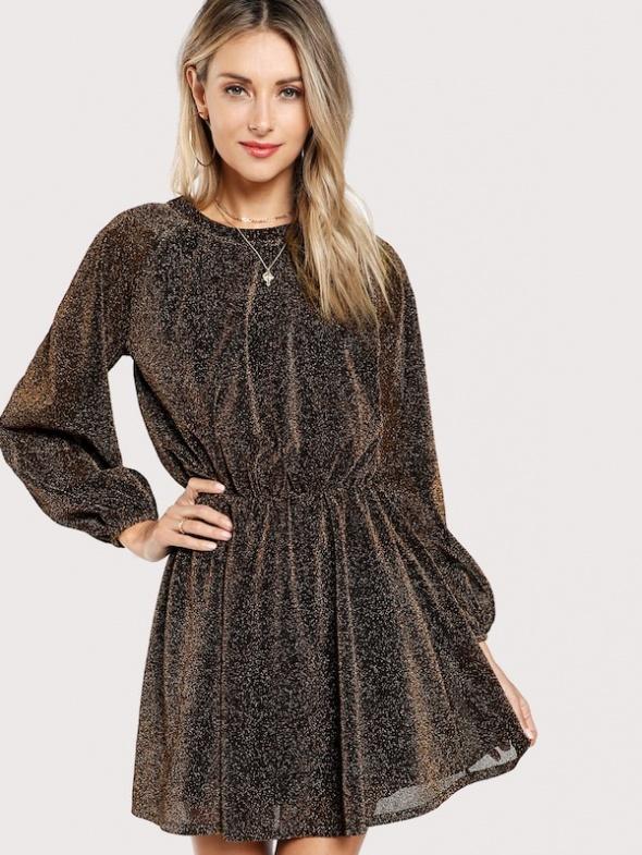 Złota brązowa błyszcząca sukienka SheIn HIT