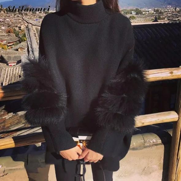 Piękny sweter fluffy rękawy zip dwa kolory