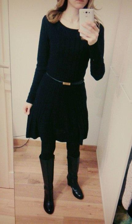 Sukienka dzianinowa sweterkowa czarna 36...