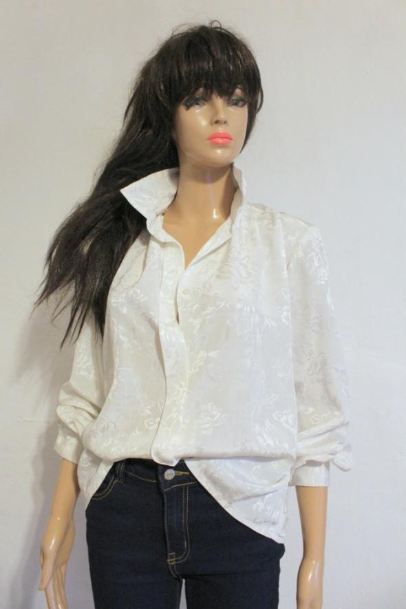 Biała mieniąca sie koszula w róże r ML...