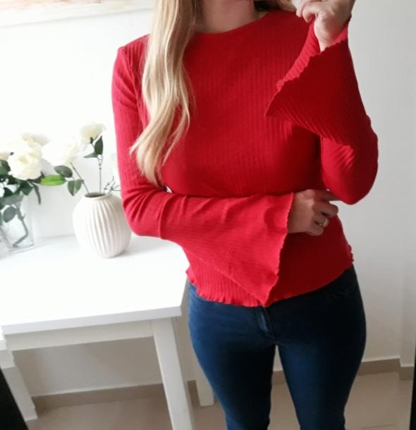 Primark bluzka prazek ozdobne rękawy czerwona L XL