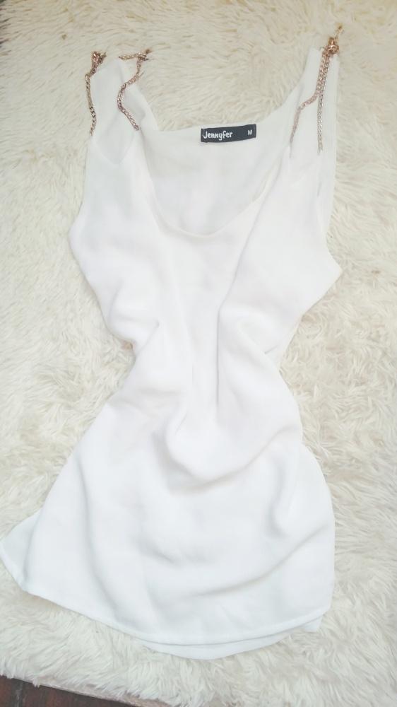 Bluzka biała na łańcuszku M seksowna
