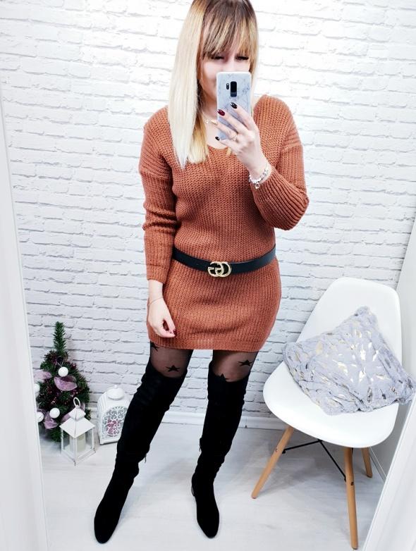 Sweter wiązane plecione plecy karmel