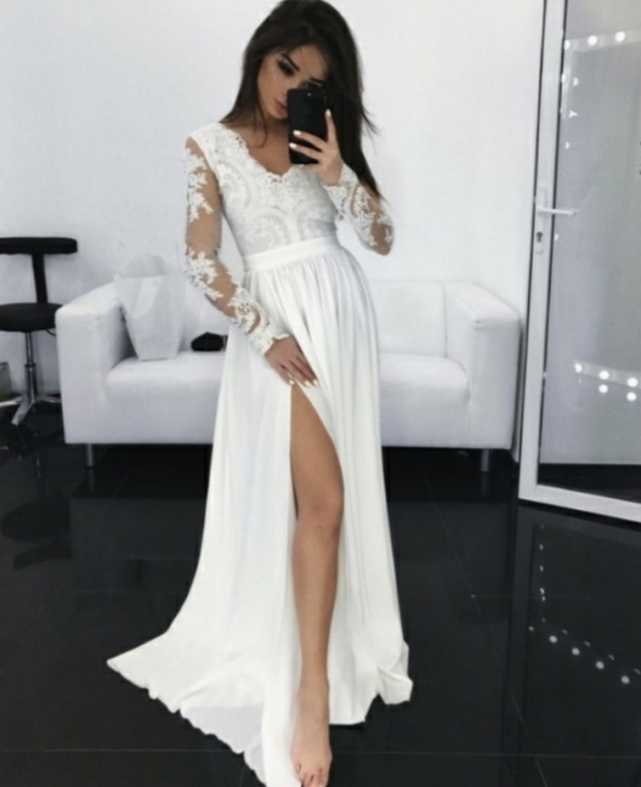 Suknia ślubna maxi koronka