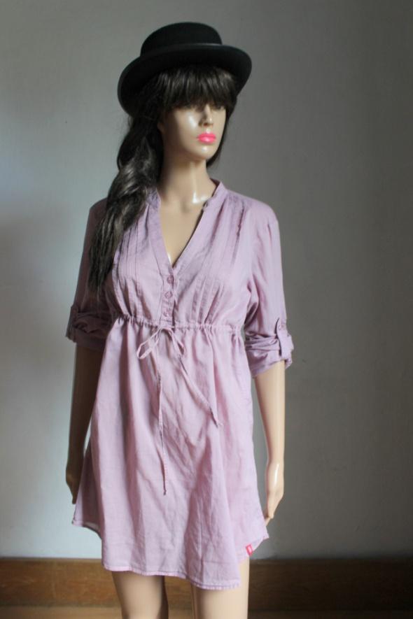Liliowa koszula tunika odcinana pod biustem idealna na ciążę r ...