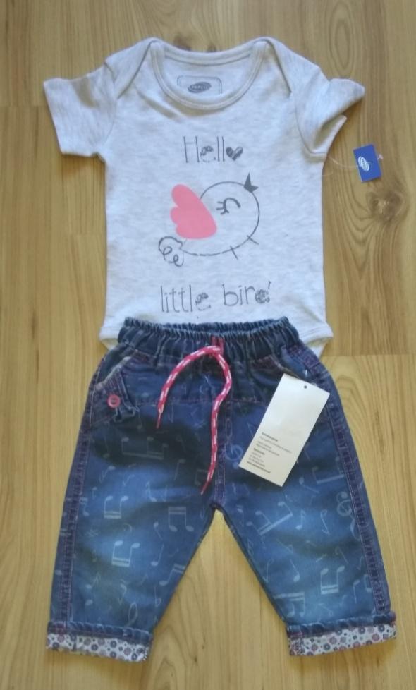 Komplecik spodnie jeansowe i szare body z krótkim