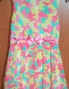 Nowa sukienka kolorowa bombka z kokardką szyfonowa wyjściowa 15...