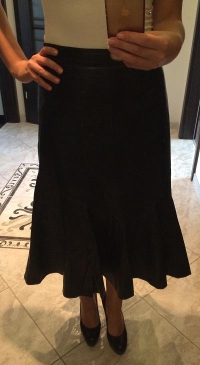 Czarna Spódnica Skórzana Rozkloszowana 38 M