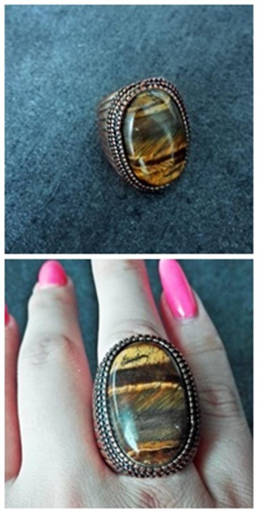 Śliczny pierścionek retro duży rozm 8 9 kamień
