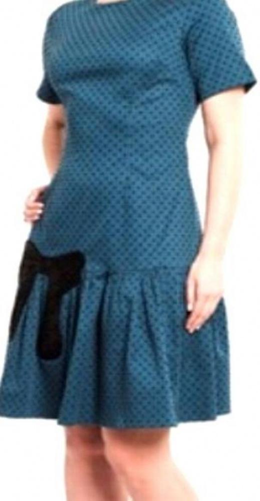 Turkusowa sukienka w kropki kokarda falbana