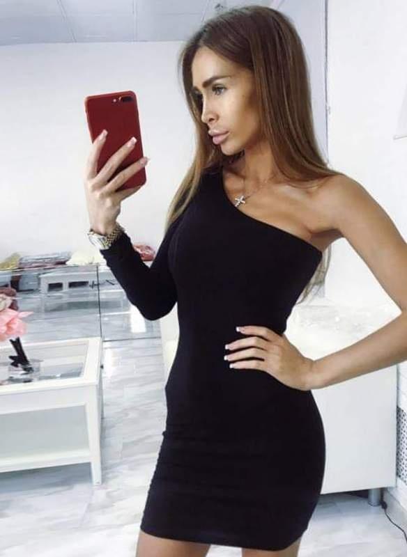 Sukienka czarna na jedno ramię NOWA
